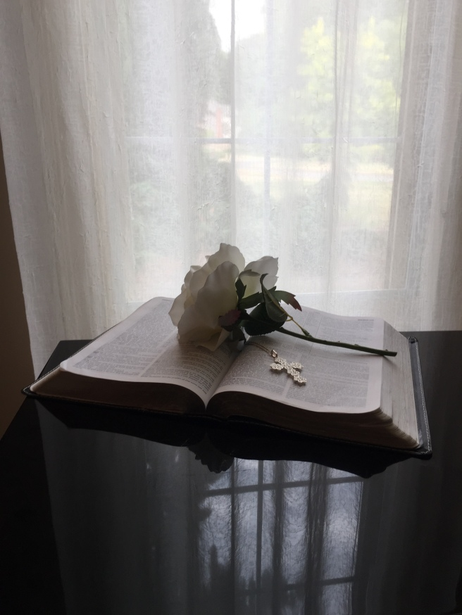 BIble with Flower and cross